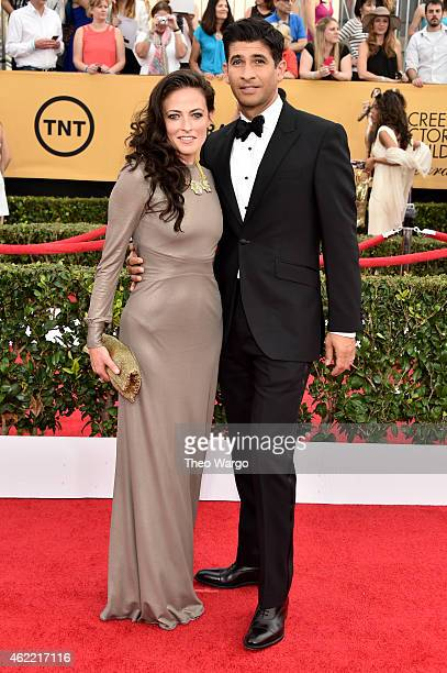 Actors Lara Pulver and Raza Jaffrey attend TNT's 21st Annual Screen Actors Guild Awards at The Shrine Auditorium on January 25 2015 in Los Angeles...