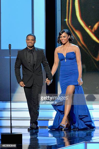 Actors Larenz Tate and Sharon Leal speak onstage during the 46th Annual NAACP Image Awards on February 6 2015 in Pasadena California