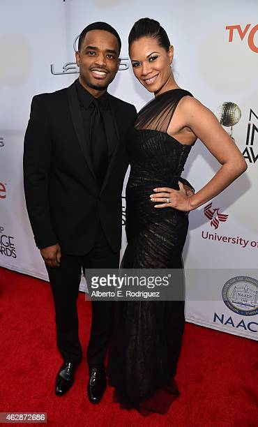 Actors Larenz Tate and Tomasina Parrott attend the 46th NAACP Image Awards presented by TV One at Pasadena Civic Auditorium on February 6 2015 in...