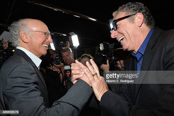 Actors Larry David and Michael Richards attend the 'Fed Up' premiere held at the Pacfic Design Center on May 8 2014 in West Hollywood California