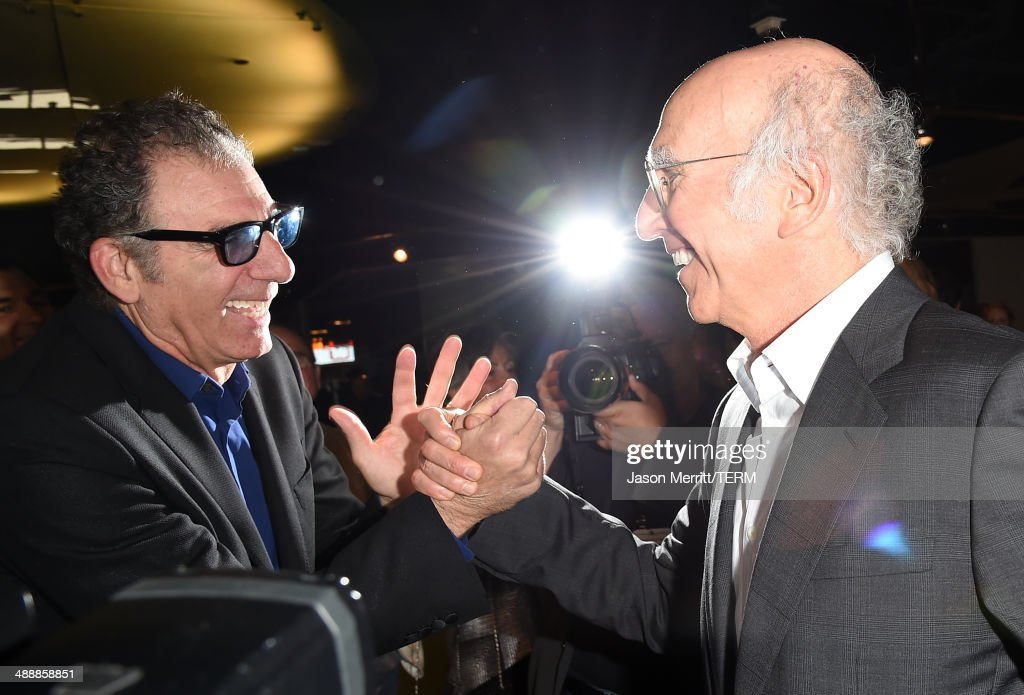 Actors <a gi-track='captionPersonalityLinkClicked' href=/galleries/search?phrase=Larry+David&family=editorial&specificpeople=125184 ng-click='$event.stopPropagation()'>Larry David</a> and Michael Richards attend the 'Fed Up' premiere held at the Pacfic Design Center on May 8, 2014 in West Hollywood, California.