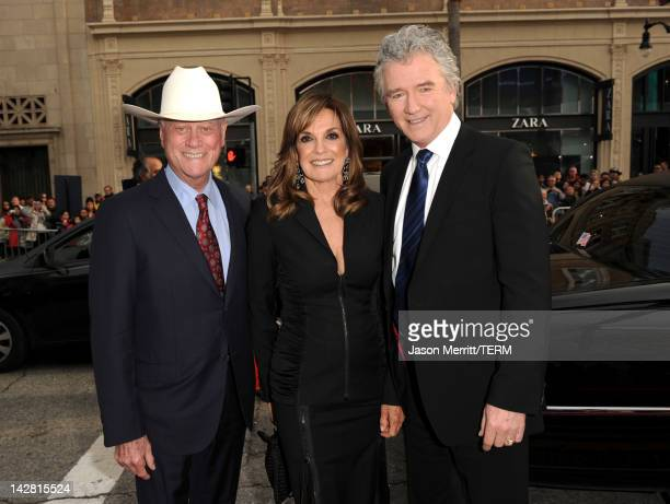 Actors Larry Hagman Linda Gray and Patrick Duffy arrive at the 2012 TCM Classic Film Festival Opening Night Gala held at Grauman's Chinese Theatre on...
