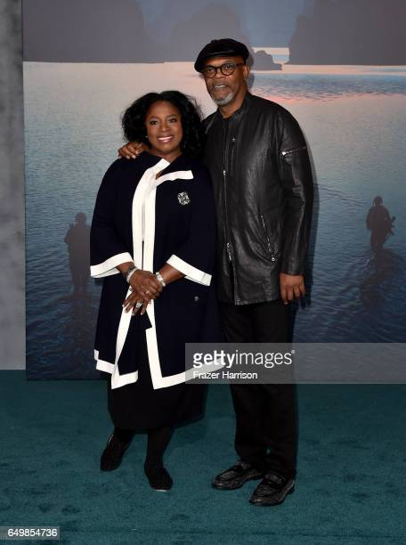 Actors LaTanya Richardson and Samuel L Jackson attend the premiere of Warner Bros Pictures' 'Kong Skull Island' at Dolby Theatre on March 8 2017 in...