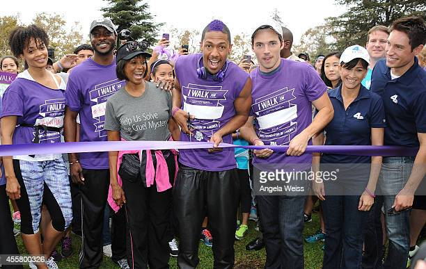 Actors Latarsha Rose BJ Britt Margaret Avery Nick Cannon Ian Harding and NBC4 LA anchors Kathy Vara and Whit Johnson attend the Walk to End Lupus Now...