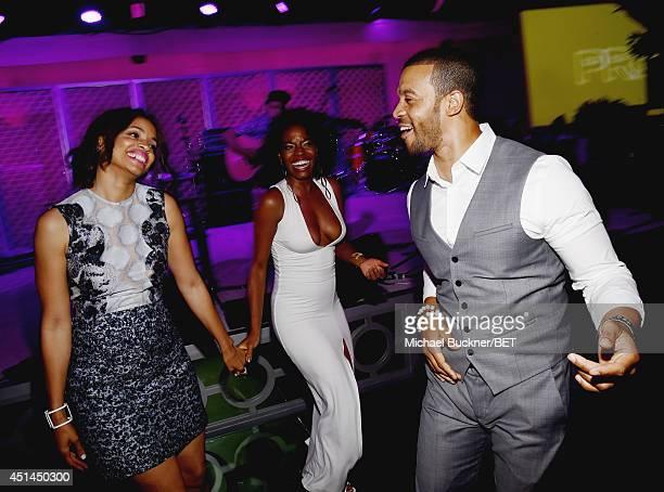 Actors Latarsha Rose Milauna Jemai and Aaron D Spears attend the BET AWARDS '14 Debra Lee's PreDinner held at Milk Studios on June 28 2014 in Los...