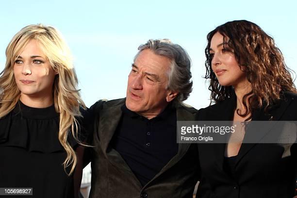 Actors Laura Chiatti Robert De Niro and Monica Bellucci attend 'Manuale d'Amore 3' official presentation of movie cast at De Russie Hotel on October...