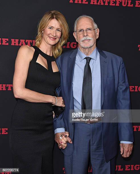 Actors Laura Dern and Bruce Dern arrive at the Los Angeles Premiere of 'The Hateful Eight' at ArcLight Cinemas Cinerama Dome on December 7 2015 in...