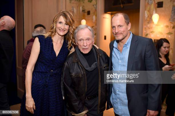 Actors Laura Dern Dick Cavett and Woody Harrelson attend the After Party for the 'Wilson' New York Screening at the Whitby Hotel on March 19 2017 in...