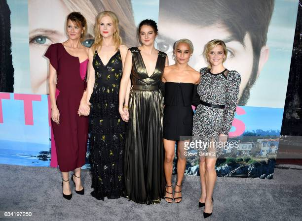 Actors Laura Dern Nicole Kidman Shailene Woodley Zoe Kravitz and Reese Witherspoon attend the premiere of HBO's 'Big Little Lies' at TCL Chinese...