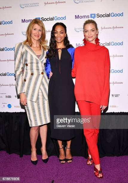 Actors Laura Dern Zoe Saldana and Jamie King attend 5th Annual Moms SocialGood event at AXA Event Production Center on May 4 2017 in New York City