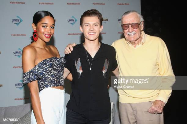 Actors Laura Harrier and Tom Holland and Stan Lee attend CONQUE to promote the new film 'SpiderMan Homecoming' at Centro De Congresos De Queretaro on...