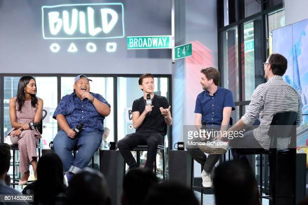 Actors Laura Harrier Jacob Batalon and Tom Holland and director Jon Watts discuss 'SpiderMan Homecoming' at Build Studio on June 26 2017 in New York...