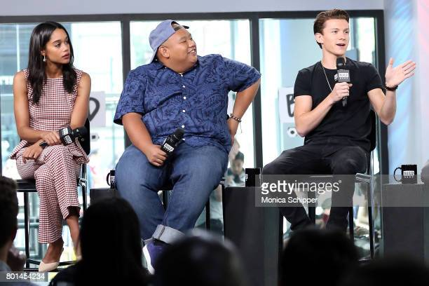 Actors Laura Harrier Jacob Batalon and Tom Holland discuss 'SpiderMan Homecoming' at Build Studio on June 26 2017 in New York City