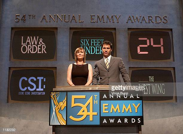 Actors Laura Innes and Eric McCormack announce the nominations for Outstanding Drama Series for the 54th Annual Primetime Emmy Awards on July 18 2002...
