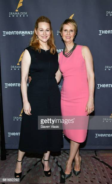 Actors Laura Linney and Cynthia Nixon attend 2017 Drama Desk Nominees reception at Marriott Marquis Times Square on May 10 2017 in New York City