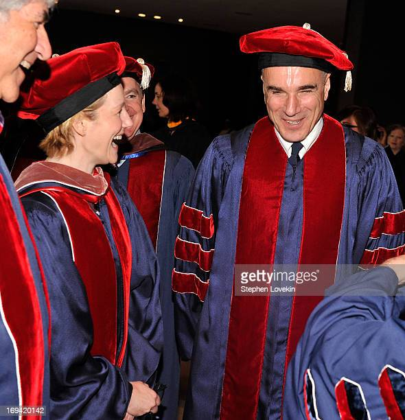 Actors Laura Linney and Daniel DayLewis attend Juilliard's 108th Commencement Ceremony at Lincoln Center on May 24 2013 in New York City