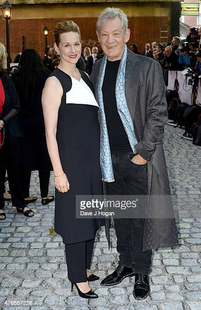 Actors Laura Linney and Sir Ian McKellen attend the UK Premiere of 'Mr Holmes' at the Odeon Kensington on June 10 2015 in London England