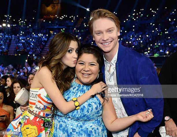 Actors Laura Marano Raini Rodriguez and Calum Worthy attend Nickelodeon's 2016 Kids' Choice Awards at The Forum on March 12 2016 in Inglewood...