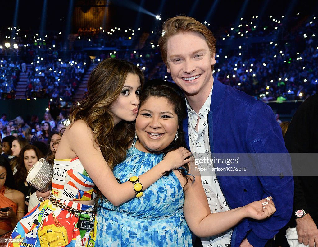 Actors Laura Marano Raini Rodriguez, and Calum Worthy attend Nickelodeon's 2016 Kids' Choice Awards at The Forum on March 12, 2016 in Inglewood, California.