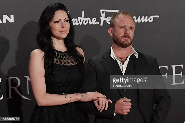 Actors Laura Prepon and Ben Foster attend the world premiere of the movie 'Inferno' on October 8 2016 in Florence / AFP / TIZIANA FABI