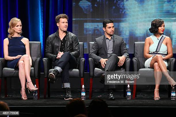 Actors Laura Regan Nick Zano Wilmer Valderrama and Meagan Good speak onstage during the 'Minority Report' panel discussion at the FOX portion of the...