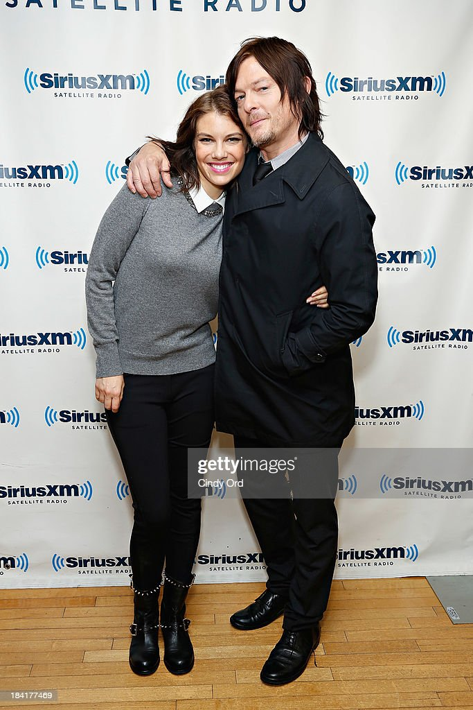 Actors <a gi-track='captionPersonalityLinkClicked' href=/galleries/search?phrase=Lauren+Cohan&family=editorial&specificpeople=4421688 ng-click='$event.stopPropagation()'>Lauren Cohan</a> and <a gi-track='captionPersonalityLinkClicked' href=/galleries/search?phrase=Norman+Reedus&family=editorial&specificpeople=747258 ng-click='$event.stopPropagation()'>Norman Reedus</a> visit the SiriusXM Studios on October 11, 2013 in New York City.