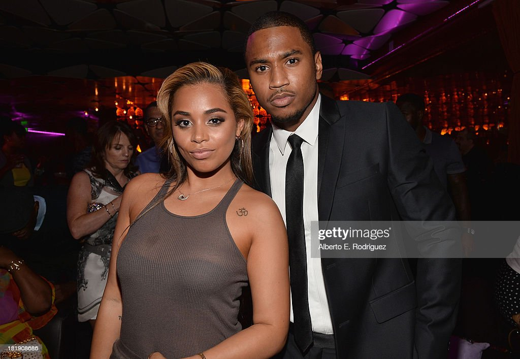 Actors Lauren London and Trey Songz attend the after party for the premiere of Fox Searchlight Pictures' 'Baggage Claim' at the Conga Room on September 25, 2013 in Los Angeles, California.