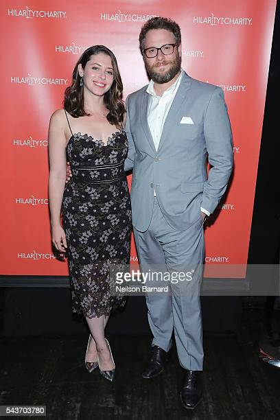 Actors Lauren Miller and Seth Rogen attend HFC NYC presented by Hilarity for Charity at Highline Ballroom on June 29 2016 in New York City