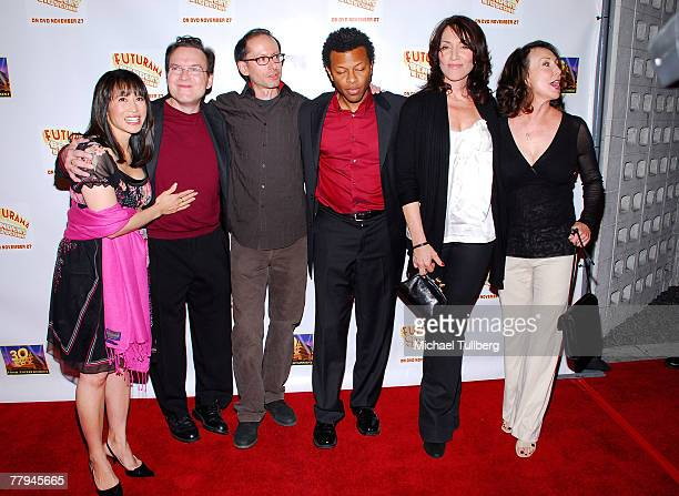 Actors Lauren Tom and Billy West writer David X Cohen and actors Phil LaMarr Katey Sagal and Tress MacNeille pose at the premiere screening of the...