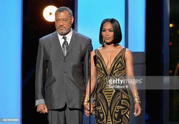 Actors Laurence Fishburne and Angela Bassett speak onstage during the 46th Annual NAACP Image Awards on February 6 2015 in Pasadena California