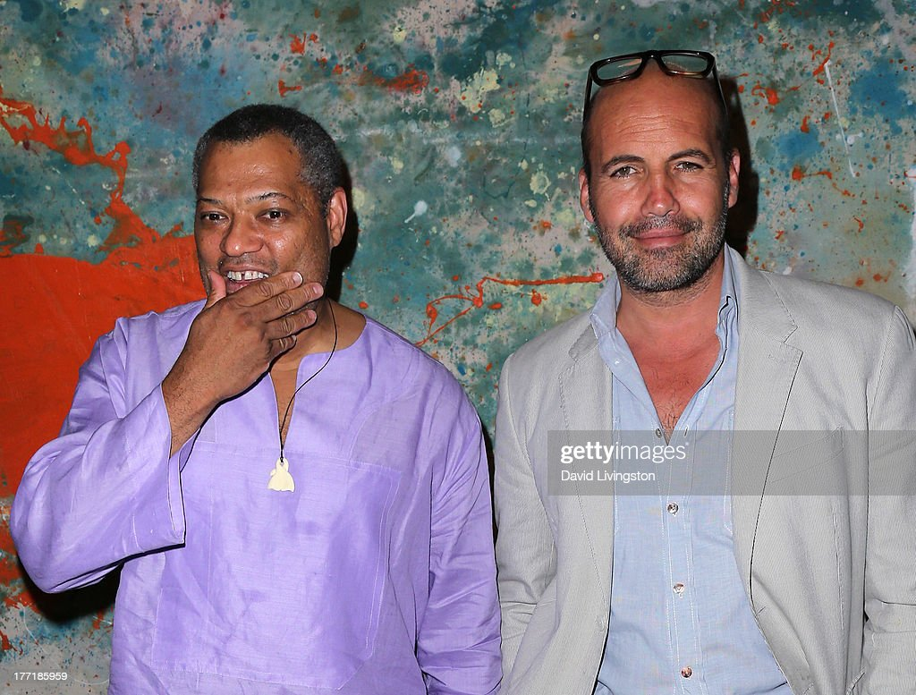 Actors Laurence Fishburne (L) and Billy Zane attend the opening night of Billy Zane's 'Seize The Day Bed' solo art exhibition at G+ Gulla Jonsdottir Design on August 21, 2013 in Los Angeles, California.
