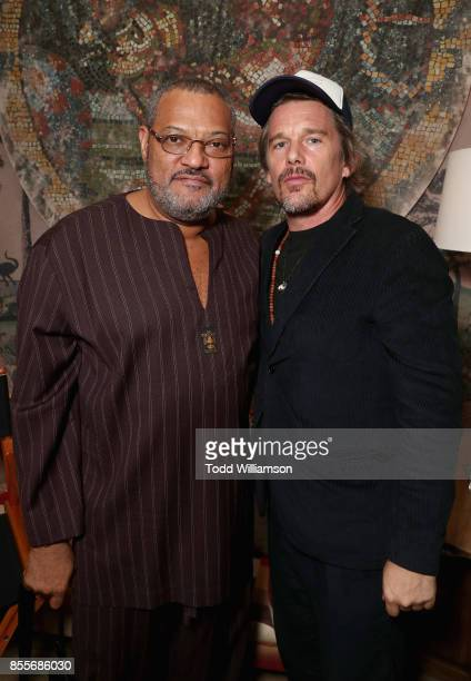 Actors Laurence Fishburne and Ethan Hawke attend the Last Flag Flying Reception hosted bBy Austin Film Society on September 29 2017 in New York City