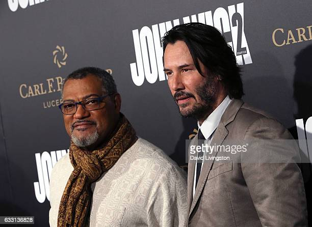 Actors Laurence Fishburne and Keanu Reeves attend the premiere of Summit Entertainment's 'John Wick Chapter Two' at ArcLight Hollywood on January 30...