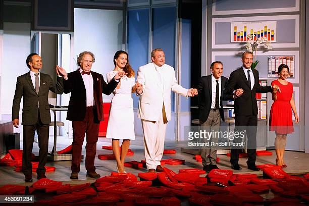 Actors Laurent Paolini Philippe Magnan Laurent Gamelon Zoe Felix Elie Semoun Francois Levantal and Marie Facundo during the traditional throw of...