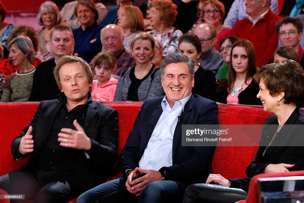 Actors Laurent Stocker and <a gi-track='captionPersonalityLinkClicked' href=/galleries/search?phrase=Daniel+Auteuil&family=editorial&specificpeople=239190 ng-click='$event.stopPropagation()'>Daniel Auteuil</a> present the Movie 'Les naufrages' and Catherine Laborde presents her Book 'Les chagrins ont la vie dure' during the 'Vivement Dimanche' French TV Show at Pavillon Gabriel on February 10, 2016 in Paris, France.