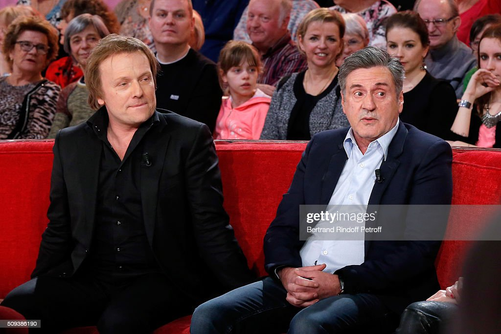 Actors Laurent Stocker and <a gi-track='captionPersonalityLinkClicked' href=/galleries/search?phrase=Daniel+Auteuil&family=editorial&specificpeople=239190 ng-click='$event.stopPropagation()'>Daniel Auteuil</a> present the Movie 'Les naufrages' during the 'Vivement Dimanche' French TV Show at Pavillon Gabriel on February 10, 2016 in Paris, France.