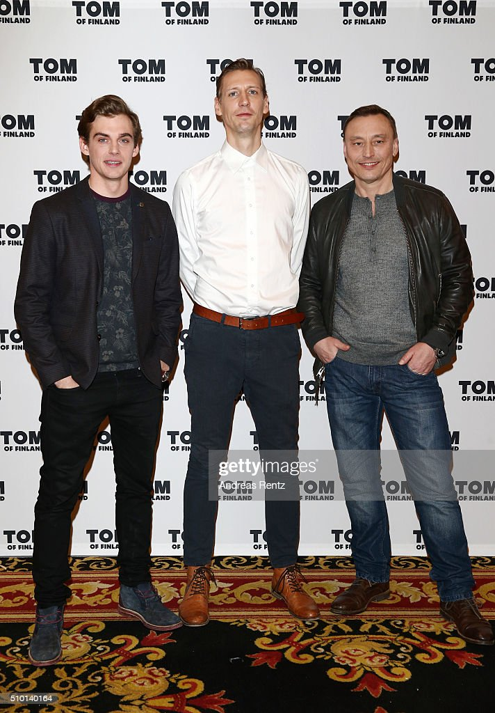 Actors Lauri Tilkanen, Pekka Strang and Werner Daehn attend the 'Tom of Finland' press conference during the 66th Berlinale International Film Festival Berlin at Ritz Carlton on February 14, 2016 in Berlin, Germany.