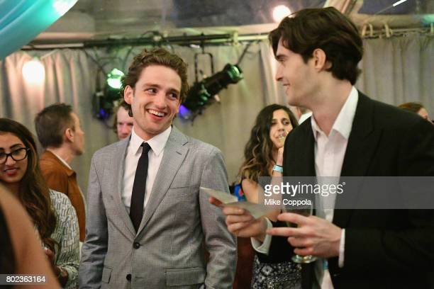 Actors Laurie Davidson and Mattias Inwood speak during TNT's Season One 'Will' Premiere After Party at Bryant Park on June 27 2017 in New York City...
