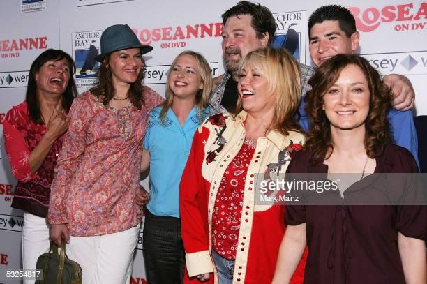 Actors Laurie Metcalf Sandra Bernhard Alicia Goranson John Goodman Roseanne Michael Fishman and Sara Gilbert attend the DVD launch of 'Roseanne...