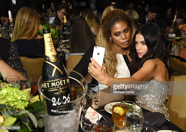 Actors Laverne Cox and Jenna Dewan Tatum attend Moet Chandon Celebrates The 2016 Young Women's Honors at Marina del Rey Marriott on November 19 2016...