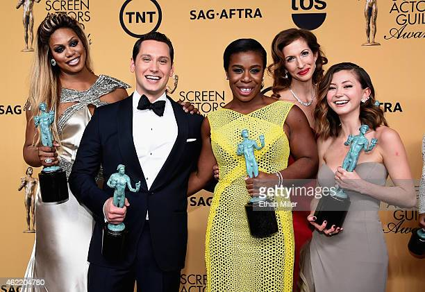 Actors Laverne Cox Matt McGorry Uzo Aduba Alysia Reiner and Kimiko Glenn winners of Outstanding Performance by an Ensemble in a Comedy Series for...