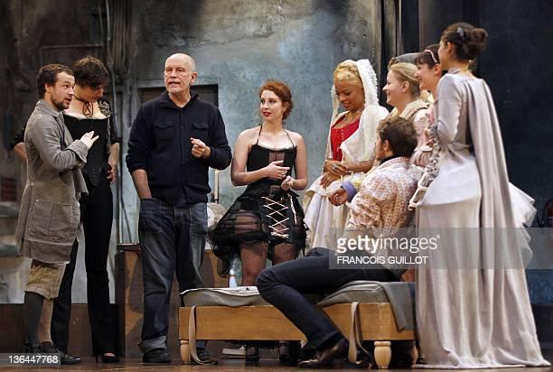 Actors Lazare HersonMacarel Julie Moulier Lola Naymark Jina Djemba Yannick Landrein Sophie Barjac Rosa Bursztejn and Pauline Moulène surrounded US...