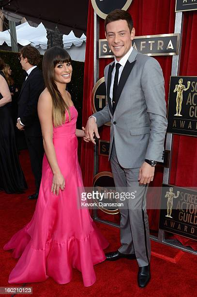 Actors Lea Michele and Cory Monteith arrive at the 19th Annual Screen Actors Guild Awards held at The Shrine Auditorium on January 27 2013 in Los...