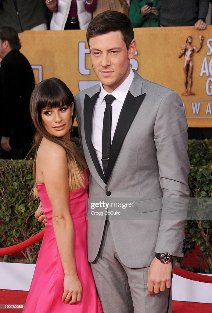 Actors Lea Michele and Cory Monteith arrive at the 19th Annual Screen Actors Guild Awards at The Shrine Auditorium on January 27, 2013 in Los Angeles, California.