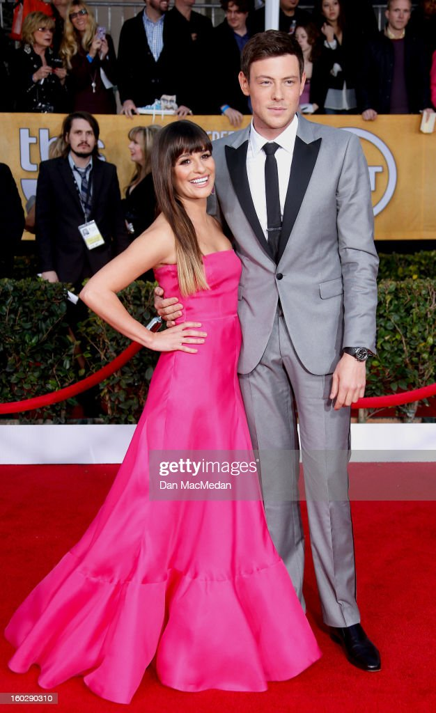 Actors Lea Michele (L) and Cory Monteith arrive at the 19th Annual Screen Actors Guild Awards at the Shrine Auditorium on January 27, 2013 in Los Angeles, California.