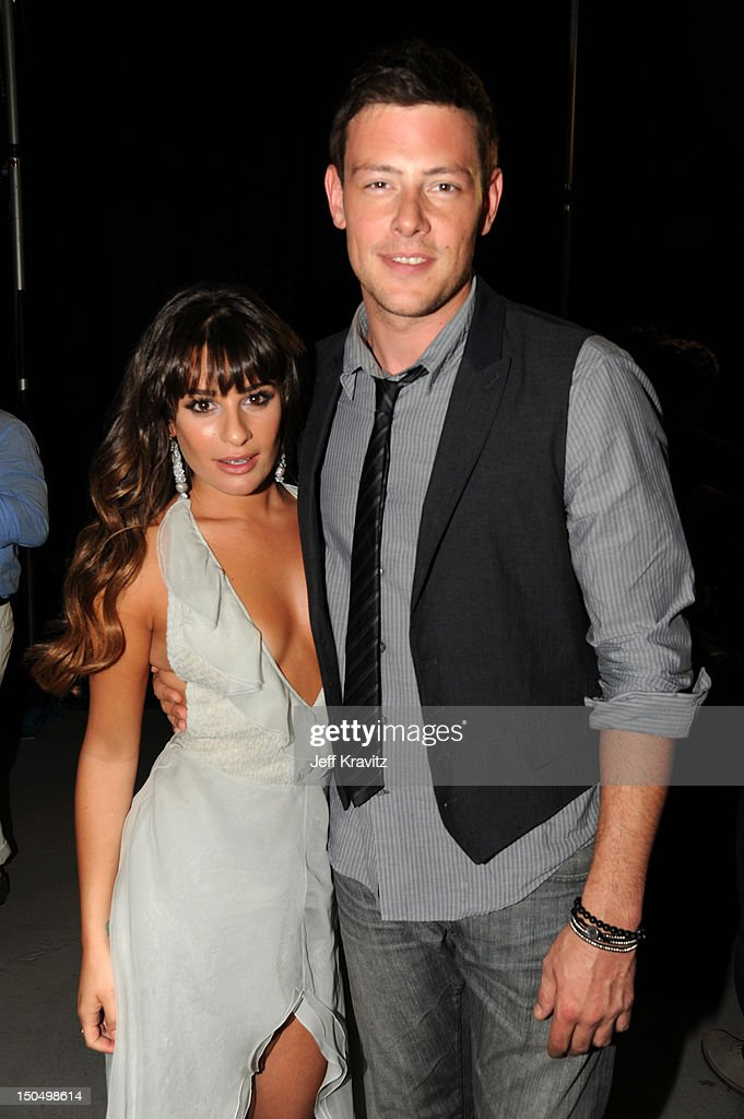 Actors <a gi-track='captionPersonalityLinkClicked' href=/galleries/search?phrase=Lea+Michele&family=editorial&specificpeople=566514 ng-click='$event.stopPropagation()'>Lea Michele</a> and <a gi-track='captionPersonalityLinkClicked' href=/galleries/search?phrase=Cory+Monteith&family=editorial&specificpeople=4491048 ng-click='$event.stopPropagation()'>Cory Monteith</a> attend DoSomething.org and VH1's 2012 Do Something Awards at Barker Hangar on August 19, 2012 in Santa Monica, California.