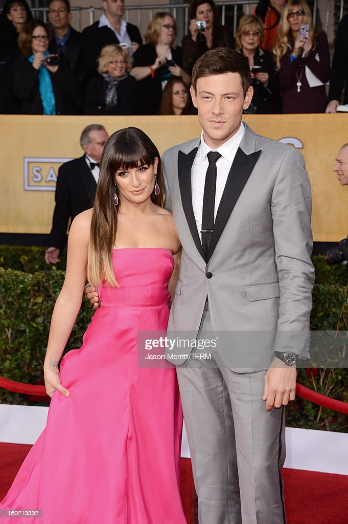 Actors Lea Michele and Cory Monteith attend the 19th Annual Screen Actors Guild Awards at The Shrine Auditorium on January 27, 2013 in Los Angeles, California. (Photo by Jason Merritt/WireImage) 23116_014_2597.jpg