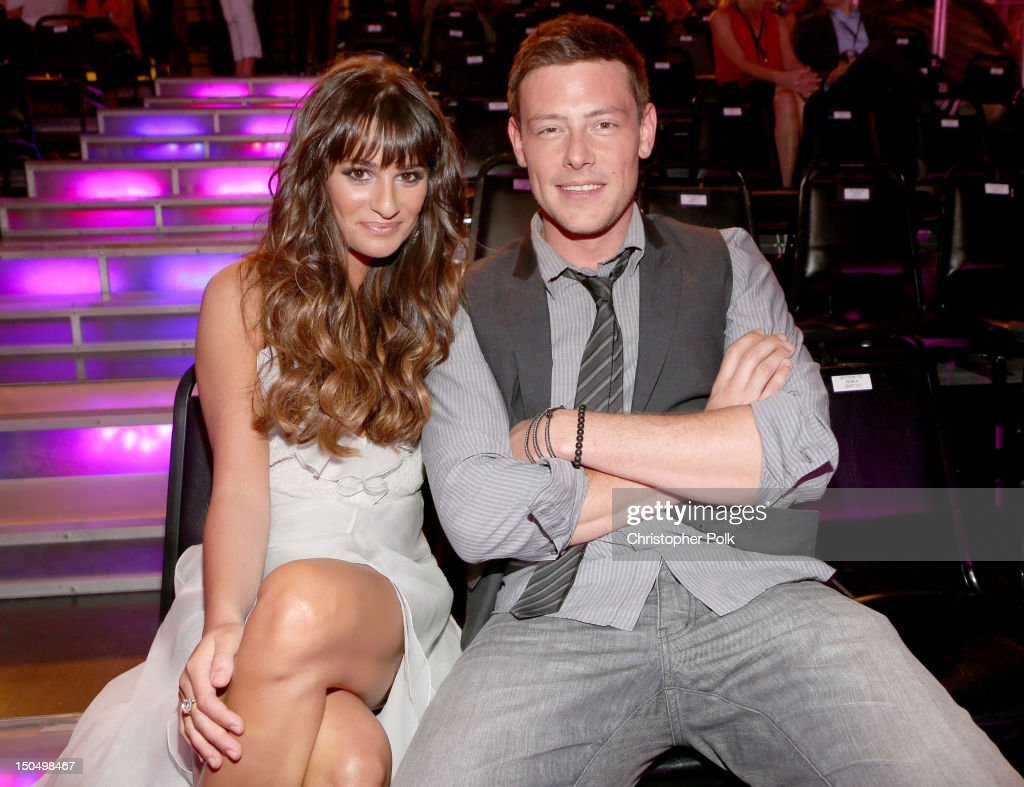 Actors <a gi-track='captionPersonalityLinkClicked' href=/galleries/search?phrase=Lea+Michele&family=editorial&specificpeople=566514 ng-click='$event.stopPropagation()'>Lea Michele</a> and <a gi-track='captionPersonalityLinkClicked' href=/galleries/search?phrase=Cory+Monteith&family=editorial&specificpeople=4491048 ng-click='$event.stopPropagation()'>Cory Monteith</a> attend the 2012 Do Something Awards at Barker Hangar on August 19, 2012 in Santa Monica, California.