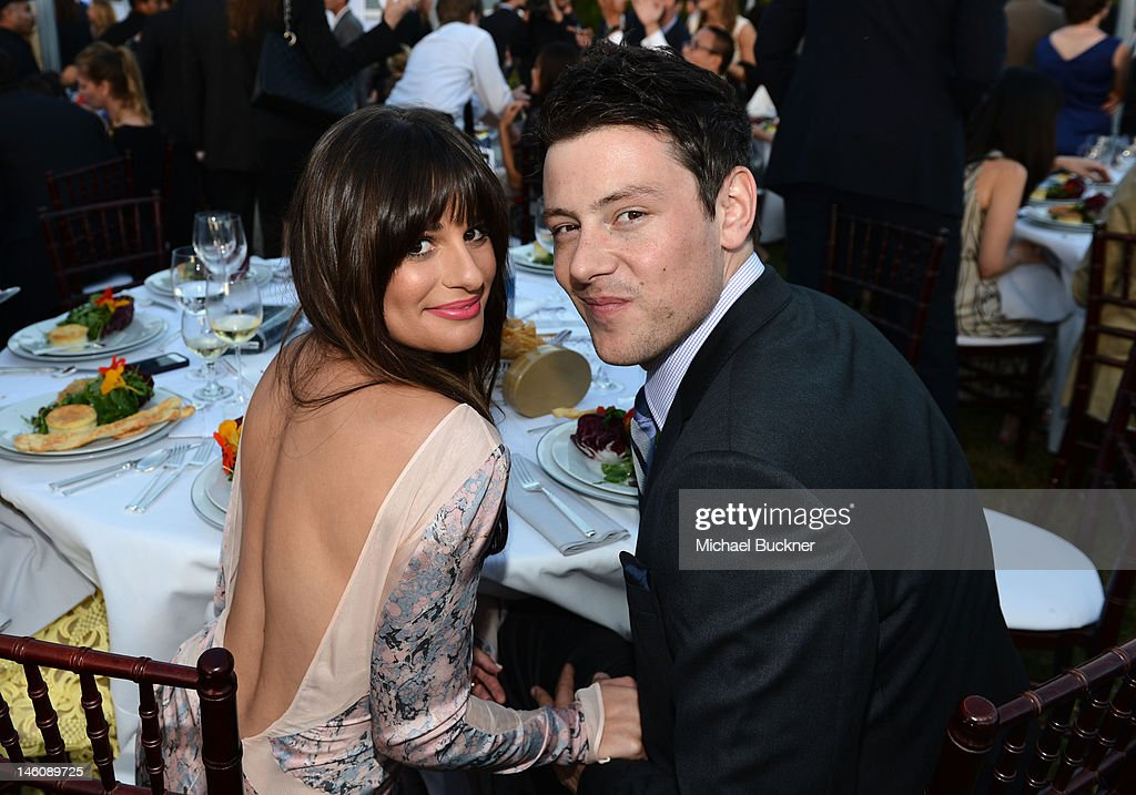Actors <a gi-track='captionPersonalityLinkClicked' href=/galleries/search?phrase=Lea+Michele&family=editorial&specificpeople=566514 ng-click='$event.stopPropagation()'>Lea Michele</a> and <a gi-track='captionPersonalityLinkClicked' href=/galleries/search?phrase=Cory+Monteith&family=editorial&specificpeople=4491048 ng-click='$event.stopPropagation()'>Cory Monteith</a> inside the 11th Annual Chrysalis Butterfly Ball sponsored by Audi, Grey Goose, Kayne Anderson and smartwater on June 9th, 2012