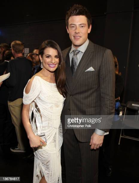 Actors Lea Michele and Cory Monteith pose backstage during the 2012 People's Choice Awards at Nokia Theatre LA Live on January 11 2012 in Los Angeles...